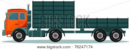 Truck with High and Low Trailers, Vector Illustration
