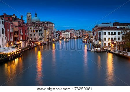 Venezia, The Grand Canal At Night. Venice, Veneto, Italy.