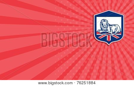 Business Card Lion Lying British Flag Shield Retro