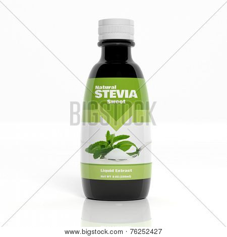 3D Stevia Extract bottle isolated on white