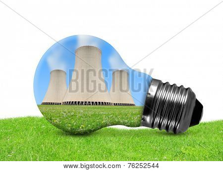 Nuclear power plant in bulb on white background
