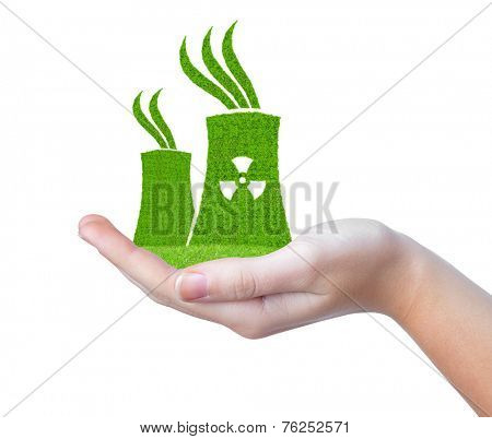 Green Nuclear power plant icon in hand isolated on white