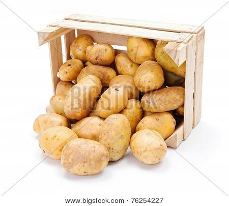 White Potatoes In Wooden Crate