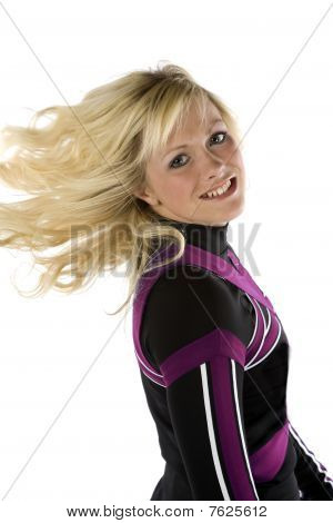 Cheerleader Flipping Hair