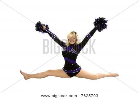 Cheerleader Splits Poms Up