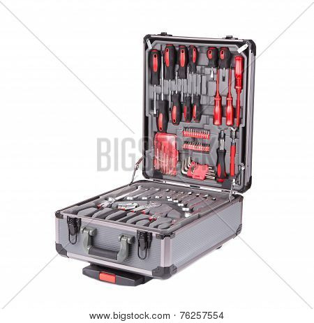 Grey toolbox with instruments