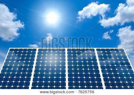 Concept of Solar Panel And The Sun