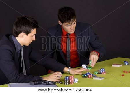 Two Wise Guys Playing Poker
