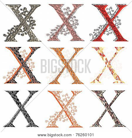 Various Combination Fishnet Letter X.