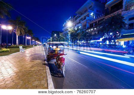 Moto Taxi At Evening Asian City. Phnom Penh, Cambodia