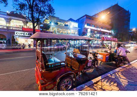 Moto Taxi At Asian City. Phnom Penh, Cambodia
