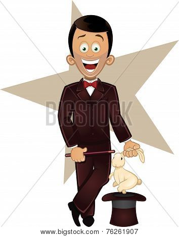 Cartoon vector illustration of magician character holding magic wand with rabbit out of a hat