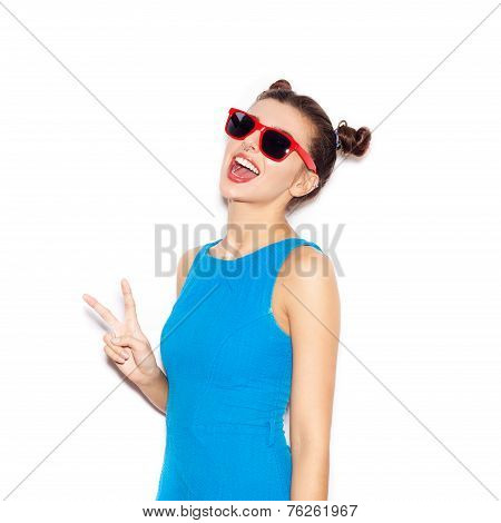 Young Woman In Sunglasses  Laughing