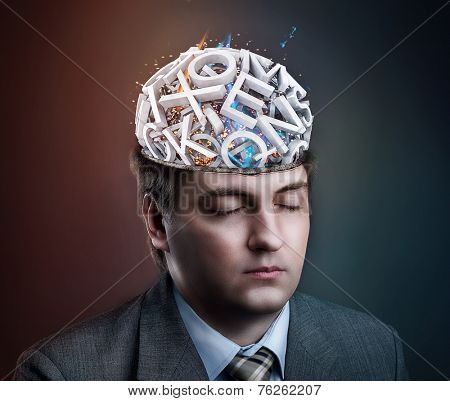 Man with letters in his head
