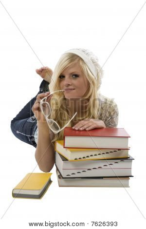 Girl Behind Books Glasses In Mouth