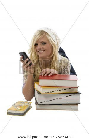 Girl Behind Books Texting