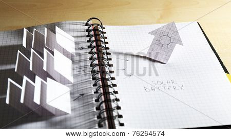 Applique paper with building and solar panels in notebook