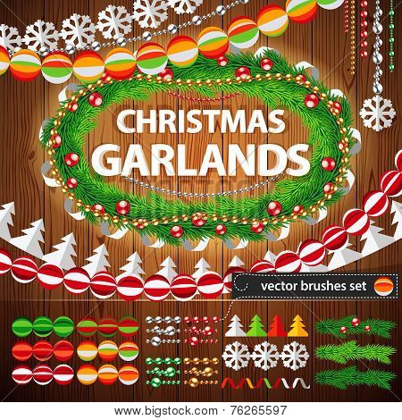 Christmas Garlands Set on Wood Background