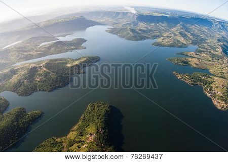 Dam Waters Aerial Birds Eye Landscape Waters