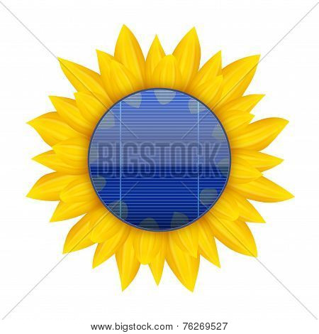 Concept of Blue electric solar panel with sunflower. Vector