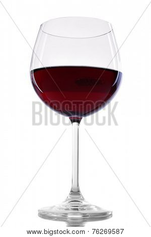 Red wine glass of wine isolated on white