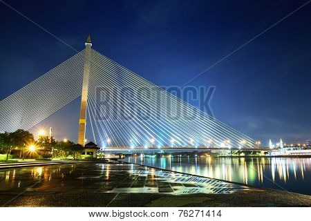 Rama 8 Or Praram 8 Cable Suspension Bridge In Bangkok, Thailand.