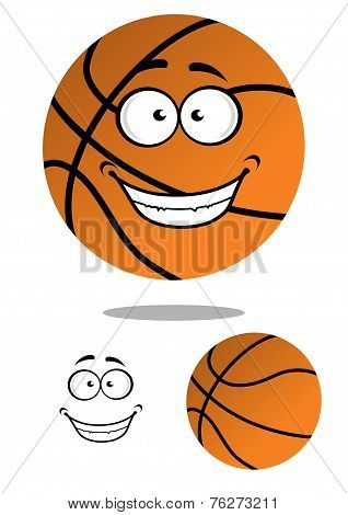 Happy smiling cartoon basketball