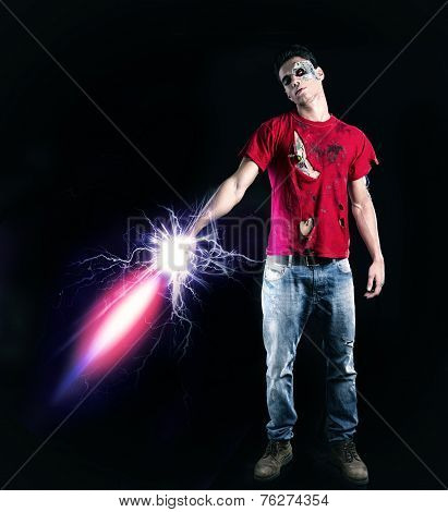 Young Zombie Man Holding Glowing Futuristic Sword