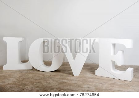 Large white handmade love sign photo