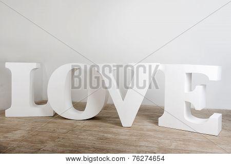 Large white handmade love sign photo