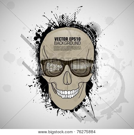 grunge print with cranium. skull hipster glasses vector. print with cranium. grunge poster with cranium