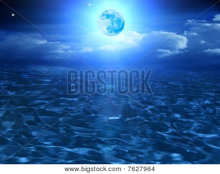 Moon  Sky  Clouds  Sea