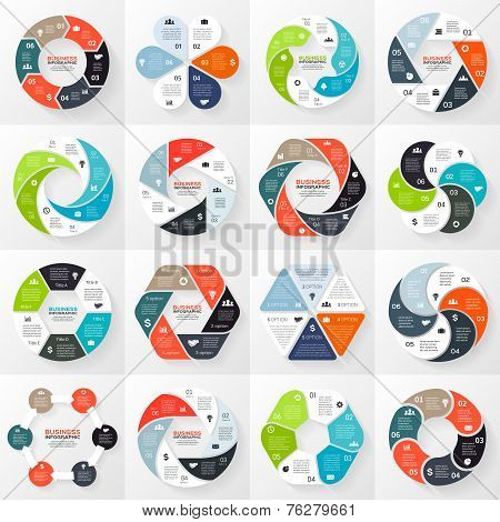 Vector circle infographics set. Template for diagram, graph, presentation and chart.