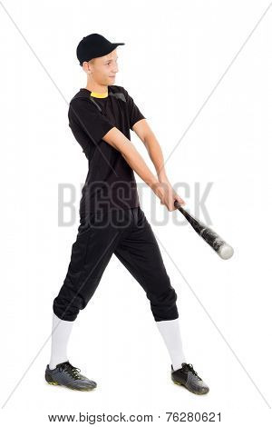 Young baseball player with a bat for baseball games.