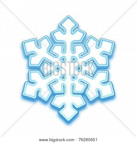 Illustration of three-demention snowflake
