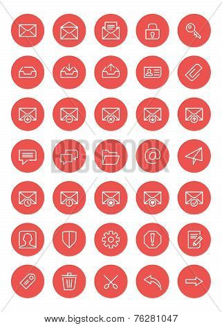 Thin Line Mail Icons Set For Web And Mobile Apps. White And Pink Colors Flat Design. Message, Envelo