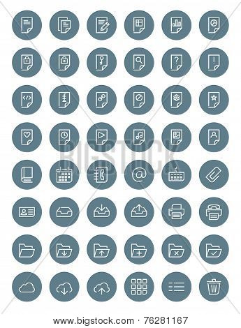 Thin Line Document Icons Set For Web And Mobile Apps. White And Gray Colors Flat Design. Document, F