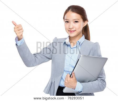Businesswoman with laptop and prefect sign