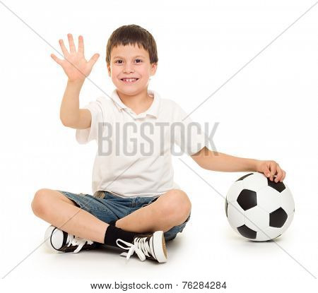 soccer boy show five finger studio isolated