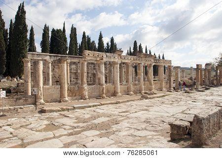 Street In Hierapolis Near Pamukkale, Turkey