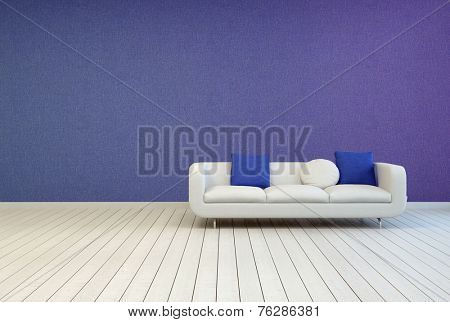 3D Rendering of White Sofa with Blue and White Pillows on an Empty Architectural Room with Off White Wooden Floor and Violet Wall.
