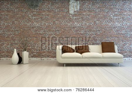 3D Rendering of Single Off White Love Seat with Brown Square Pillows at Architectural Living Room with Vase Decorations and Vintage Brick Wall Design.