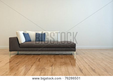 3D Rendering of Attractive Gray Sofa with White and Blue Pillows on Empty Lounge Room with Off White Wall Background and Shiny Wooden Floor Design.
