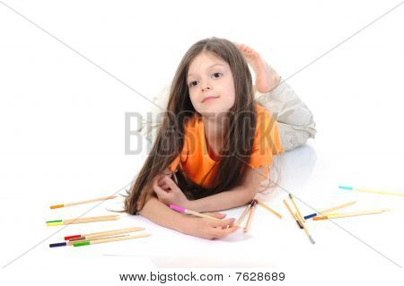 Little Beautiful Girl Draws Pencils.