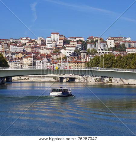 View On Lyon And Saone Riverwith Boat