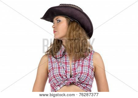 Portrait of pretty young cowgirl