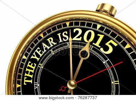 The Year Is 2015 Gold Concept Clock