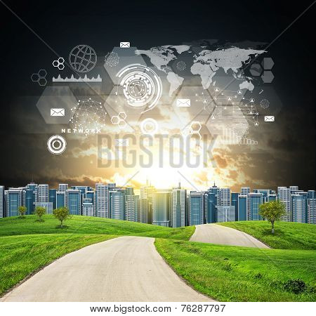 Buildings, green hills, road and dramatic sky with virtual elements