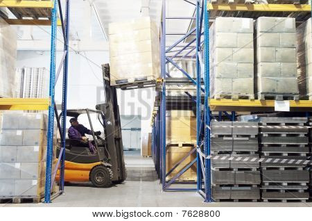 Working Forklift Loader