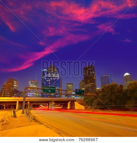 Houston downtown skyline at sunset dusk in Texas US USA
